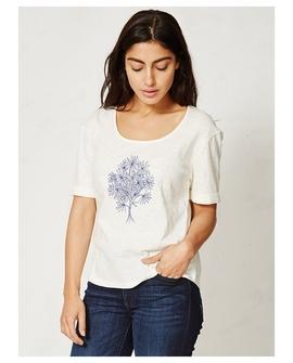 Posy bluse, hvid med blå blomster