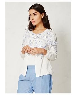 Hanami cardigan, hvid med blå motiver