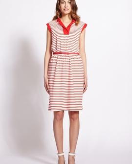 Charlotte kjole, med røde striber