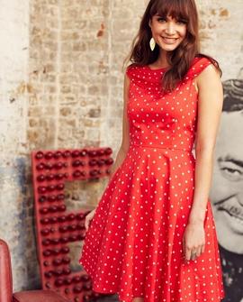 Josie Square Print kjole, rød