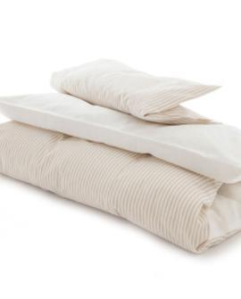 Baby sengelinned, beige/hvide striber