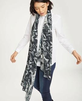 Tørklæde, sort med hvidt mønster